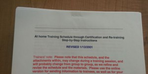 Training instructions document dated January 2001