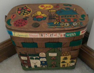 Wooden purse with stickers and 1969 penny.