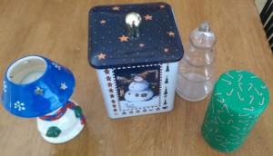 Holiday tins and other random Christmas stuff.