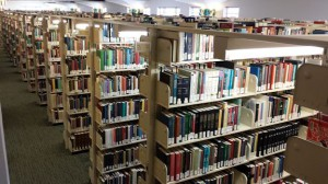 Library shelves as seen from above the stacks.