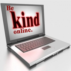 "Word-art with image of computer screen saying ""Be kind online."""