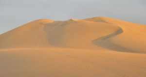 Desert photo of sand dunes and clear sky.