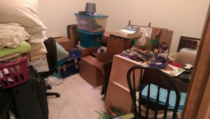 Extra room in my basement full of boxes and other stuff.