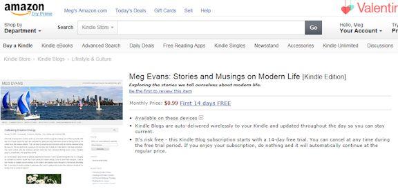 Screenshot of my blog subscription page on Amazon.com.