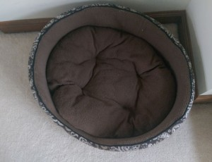 Brown oval bed for a small dog, on white carpet.