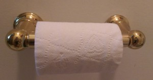 Roll of toilet paper on a shiny brass holder.