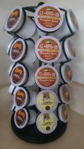 Coffee carousel with new pumpkin spice K-cups centered in the photo.