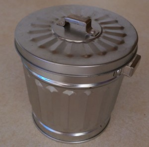 Miniature metal trash can on my kitchen counter.