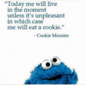 "Cookie Monster saying ""Today me will live in the moment unless it's unpleasant in which case me will eat a cookie."""