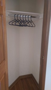 Closet with nothing in it but hangers.