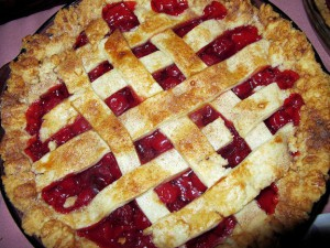 Cherry pie with lattice top crust.