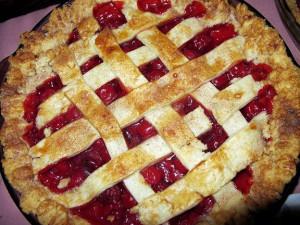 Cherry pie with lattice top crust.