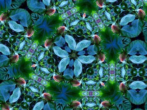 Floral kaleidoscope image, mainly in blue shades.