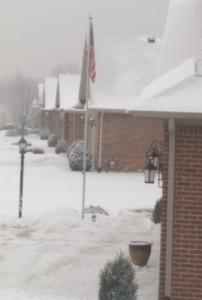 Row of suburban brick houses on a snowy day.