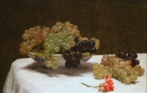 Painting of grapes, some overripe, on a table with a wilting carnation.