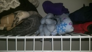 Hats, gloves, and scarves on a closet shelf