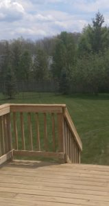 My backyard after the grass was cut and the deck power-washed.