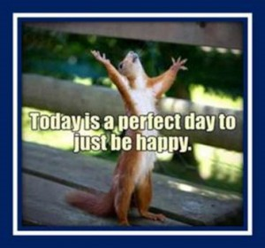 "Word-art with a squirrel saying ""Today is a perfect day to just be happy."""