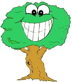 Cartoon tree with a smiling face in the leaves.