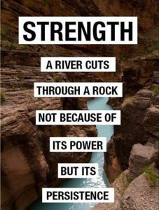 "Word-art captioned ""Strength"" that says ""A river cuts through a rock not because of its power but its persistence."""