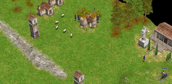 Screenshot of ancient village from Age of Mythology game.