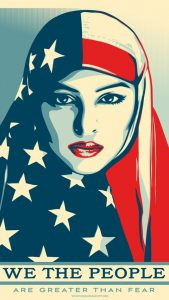 "Word-art of a woman with an American flag covering her head that says ""We the People are greater than fear."""