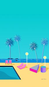 Cartoon image of a pool with lounge chairs at the beach.