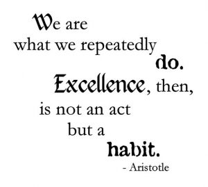 "Word-art that says ""We are what we repeatedly do. Excellence, then, is not an act but a habit."" - Aristotle"