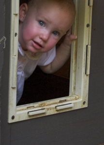 Baby looking through a doggie door.