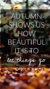 "Word-art that says ""Autumn shows us how beautiful it is to let things go."""