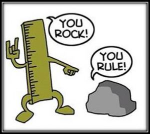 "Cartoon with a ruler saying ""You rock!"" and a rock saying ""You rule!"""