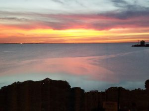 View of Tampa Bay at sunset from Grand Hyatt hotel window.