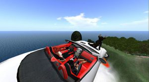 Flying car with ocean in background.