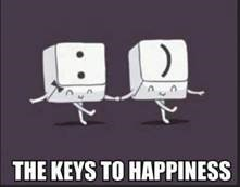 "Word-art captioned ""The Keys to Happiness"" showing computer keys making a smiley."