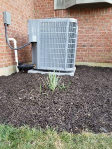 New air conditioner with fresh mulch around it.