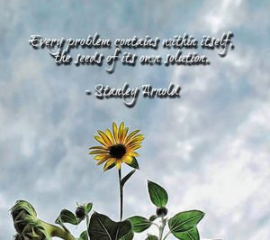 "Word-art that says ""Every problem contains within itself the seeds of its own solution."" -Stanley Arnold"