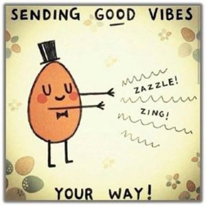 "Word-art that says ""Sending good vibes your way! Zazzle! Zing!"""
