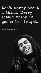 "Word-art that says ""Don't worry about a thing. Every little thing is gonna be alright."" -Bob Marley"