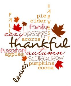 "Word-art featuring fallen leaves and words like ""thankful."""