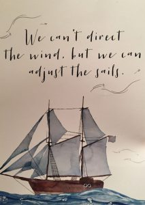 "Word-art that says ""We can't direct the wind, but we can adjust the sails."""