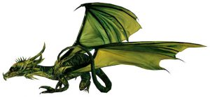 Green dragon in side view.