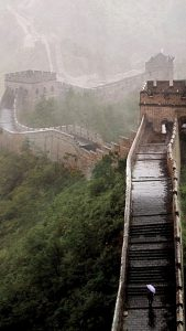 The Great Wall of China on a rainy day.