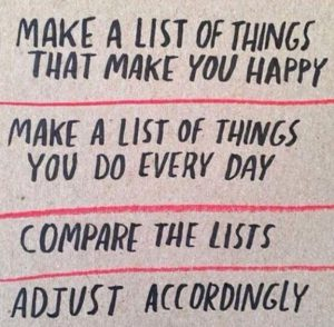 "Word-art that says ""Make a list of things that make you happy. Make a list of things you do every day. Compare the lists. Adjust accordingly."""