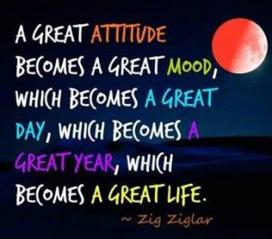 "Word-art that says ""A great attitude becomes a great mood, which becomes a great day, which becomes a great year, which becomes a great life."" -Zig Ziglar"