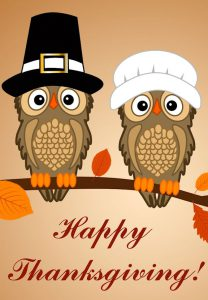 "Word-art that says ""Happy Thanksgiving!"" with owls dressed as Pilgrims."