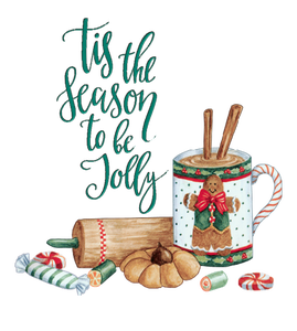 "Word-art that says ""Tis the season to be jolly."""