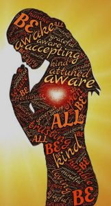 "Word-art that says ""Be aware"" and many other positive words in the shape of a woman."