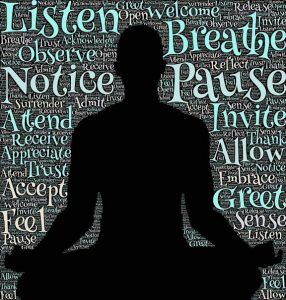 "Word-art that says ""Listen,"" ""Breathe,"" and many other positive words beside a shadow of a person in a yoga pose."