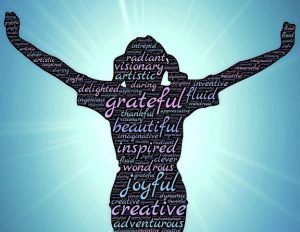 "Word-art that says ""grateful,"" ""joyful,"" and other positive words over the shape of a woman."