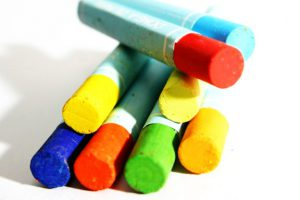 Photo of oil pastels in a stack.